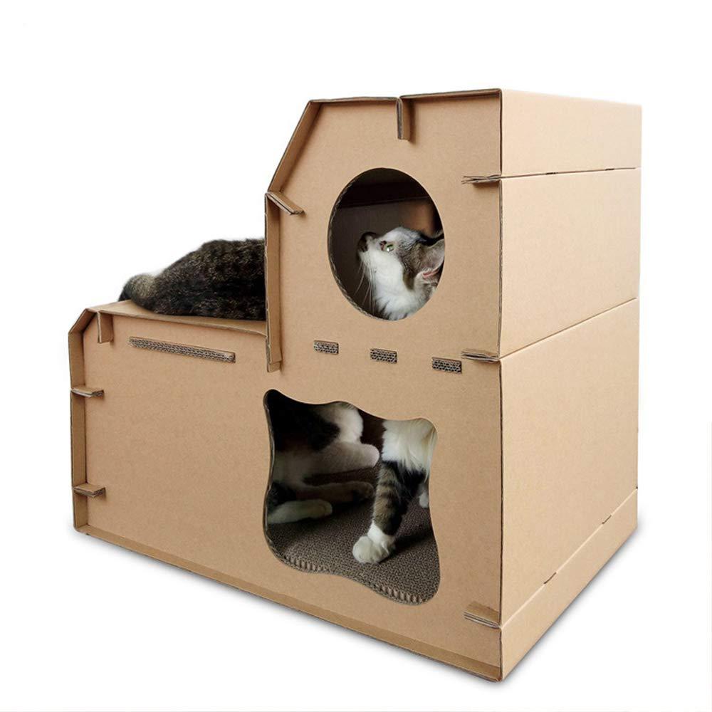 Fazeer,Big DIY,Doble Nivel,Cat House,cartón,Rayas,Cojines,Salón,Papel,Gato ,Cama,Juguetes,Gatos,Muebles: Amazon.es: Productos para mascotas