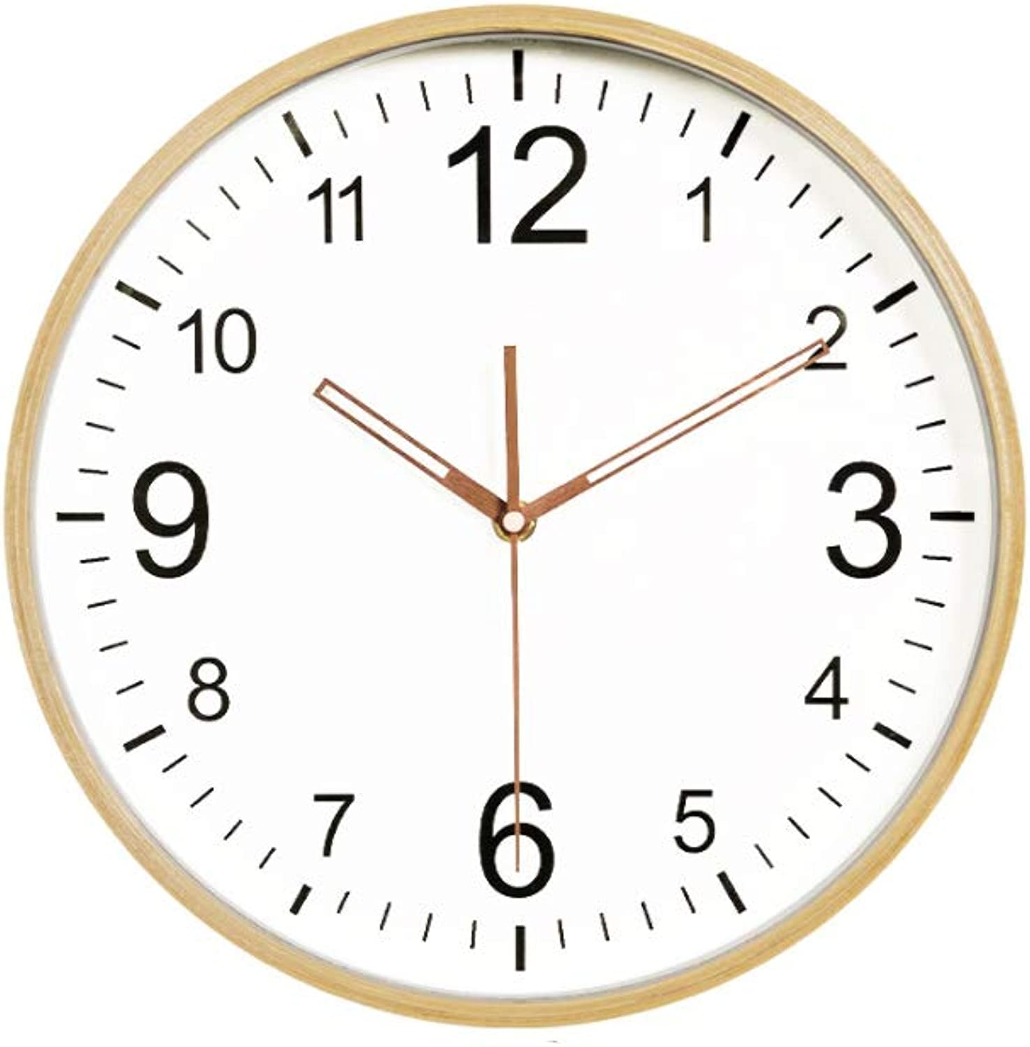 YONGMEI Wall Clock - Nordic logs, no Creative, Wall Clock, Watch, Modern Minimalist Living Room, Bedroom, Round, Silent, Quartz, Wooden Clock (color   White, Size   30.5cm)