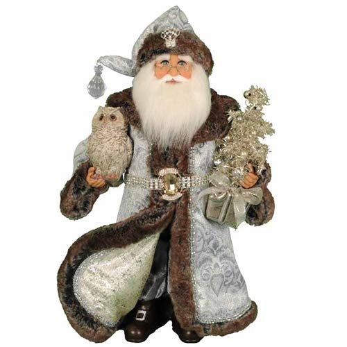 Karen Didion Originals Lighted Midnight Elegance Santa Figurine, 17 Inches - Handmade Christmas Holiday Home Decorations and Collectibles
