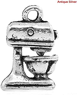 PEPPERLONELY 50pc Antiqued Silver Alloy Kitchen Food Mixer Charms Pendants 16x11mm (5/8