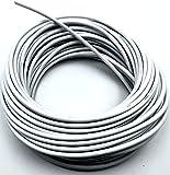 KOMBI Cuerda de acero latón plastificado blanco 4,5 mm x 20 m revestida carga cable tendedero cuerda acero lona valla red
