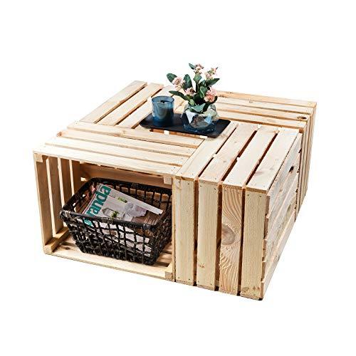 GrandBox Set de 4 Natural-Box Caja de Madera flameada, Caja de Vino, Caja de Frutas, Caja Decorativa,Vintage Shabby Chic Retro, Caja de leéa