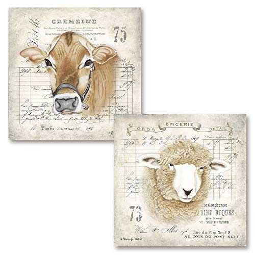 Lovely French Farm Animals Cow and Sheep  French Country Decor  Two 12x12in Paper Posters