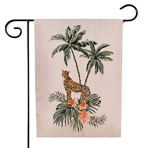 UIJDIAm Winter Yard Garden Flag,Home Yard Decorative 12X18 inches Beautiful Tropical Vintage Background with Palm Trees Double Sided Seasonal Christmas Garden Flags Kids Christmas Garden Flag