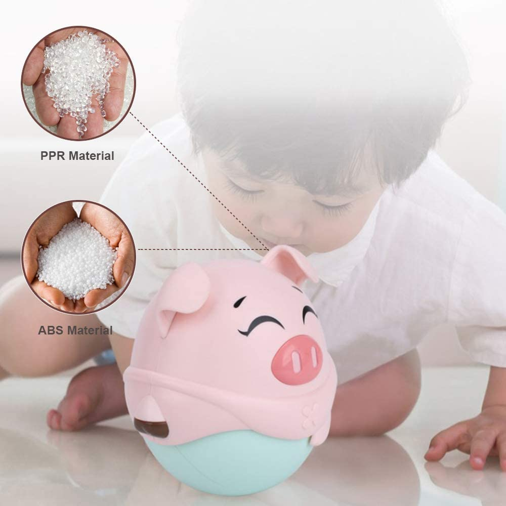 Toddler Happy Chasing Game Walking Roly-poly Rattle and Teether Music Ball Baby Fun Pig Tumbler Toy Newborn Early Crawling Educational