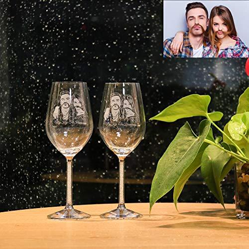 ASD Jewerly Set di Due Bicchieri da Vino Rosso Design Dipinto A Mano Foto E Testo Personalizzati Compleanno L'Anniversario O Il Regalo di Nozze degli Amanti del Vino