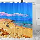 Spain Formentera Cortina de ducha Viaje Decoración de baño Set con ganchos Poliéster 72x72inch (YL-05314)