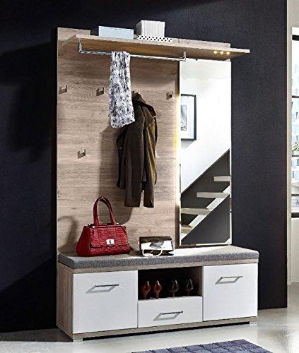 Froschkönig24 Plus 2 Kompaktgarderobe Garderoben Set Komplettgarderobe Weiß/Silbereiche