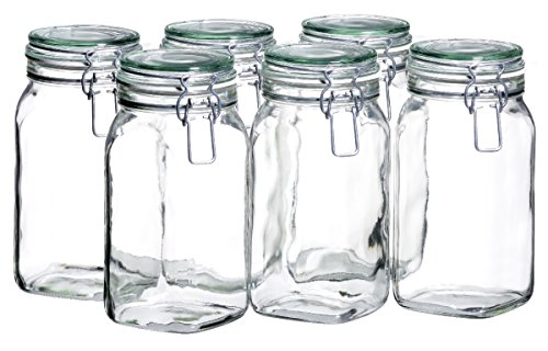 MÄSER 925341 Gothika, Einmachgläser 1,45 l, 6er Set, made in Germany, Vorratsgläser mit Deckel und Drahtbügel zum luftdichten Aufbewahren, Einkochen und Einlegen, Glas, transparent