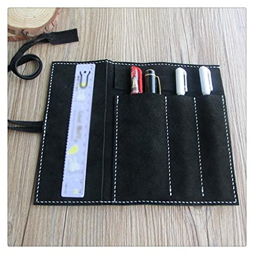 BWCGA Oficina de negocios Lápiz de cuero de gran capacidad Caseretro Fountain Pen Set Student Pen Cortina Multifuncional (Color : Black, Size : 17 * 21cm)