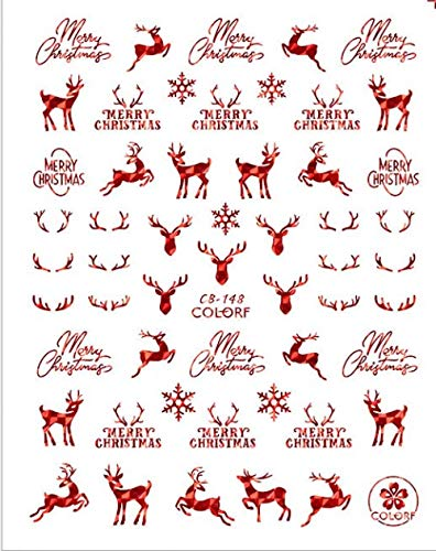 3D Nail Decals Santa Claus White/gold/red Back Glue Laser Christmas Tree Decal Diy