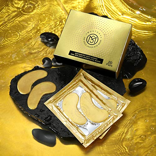 51pG4ORoeGL - 24K Gold Under Eye Mask - Eye Patches Treatment for Puffy Eyes Pure Collagen Golden Anti-aging Dark Circles Eye Bags Wrinkles Pads Masks Cooling Eye Spa Hydrogel Undereye patch - 20 Pairs (GOLD)