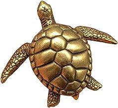 GAOXUQIANG Mini Coleccionable Latón Chino Tallado Animal Escarabajo Tortuga de Mar Tortuga de Oro Exquisitas Estatuas Pequeñas