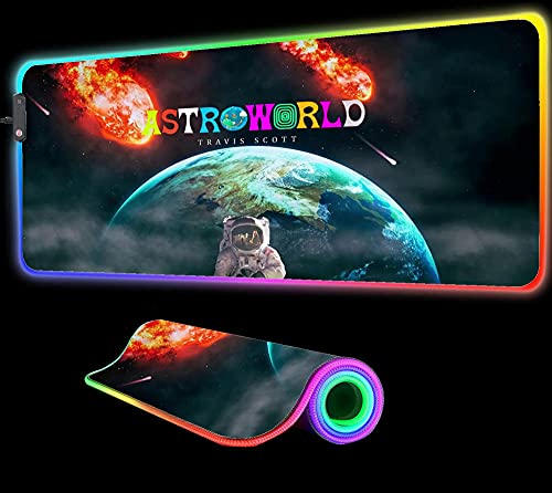Gaming Mouse Pads Astroworld Universe RGB Mouse Pad Gaming with 7 LED Colors 14 Lighting Modes Computer Keyboard for Games Computer Pc Pad 27.55 inch x12 inch x0.15 inch