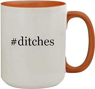 #ditches - 15oz Hashtag Colored Inner & Handle Ceramic Coffee Mug, Orange