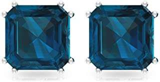4.2 Ct Blue Topaz London Stud Earring, Bridesmaid Wedding Earring, SGL Certified Asscher Shape Birthstone Earring, Solitaire Statement Earring, Screw Back