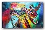 Bild, Gemälde, Sabrina Seck, Oktopus, Unikat, öl, abstrakt, handmade, original, painting, acryl, modern, XXL, Dekoration, Titel: Oktopussi (75 cm x 115 cm)