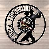 Tango - Reloj de pared de vinilo para parejas, bailarinas y bailarinas