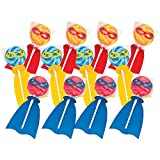 Superhero Swirl Pop Suckers (12 individually wrapped lollipops) Party Candy and Favors
