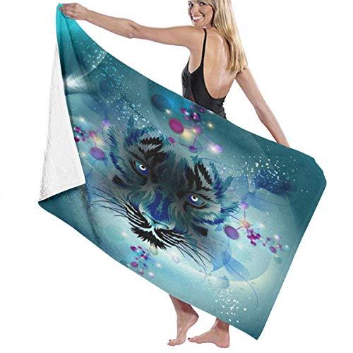 LOPEZ KENT blauwe tijger gezicht badhanddoek strand spa douche badpak zacht licht comfortabel droogt snel