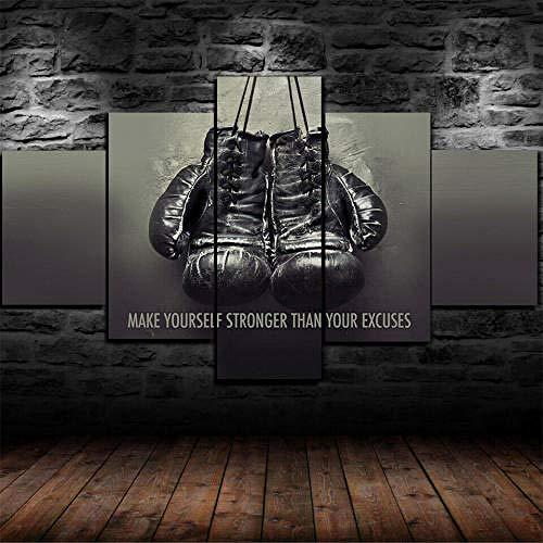 Gyybfhn Kunstdrucke Moderne Druck Malerei Hintergrund Dekor Modulare 5 Teiliges Wandbild XXL/Gerahmte Boxhandschuhe Gym Motivation/Poster Wandkunst Leinwand Geschenk Kunstwerk150X80Cm