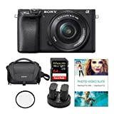 Sony Alpha a6400 24.2MP Mirrorless Digital Camera with 16-50mm Lens Bundled with Corel Photo Software, Koah Power Kit, Carrying Case, 64GB SDXC Card, and Accessories (6 Items)