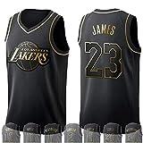 WOLFIRE WF Camiseta de Baloncesto para Hombre, NBA, Golden Edition. Antetokounmpo James Leonard Westbrook Lillard Wade Jokic Russell George Doncic Harden Curry. Bordado, Swingman (James, S)