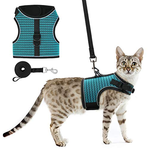 PUPTECK Cat Harness and Leash - Escape Proof for Walking, Reflective and Breathable Cat Vest Harness with Safety Buckle, Easy Control and Adjustable for Small Medium Large Cats, Puppies