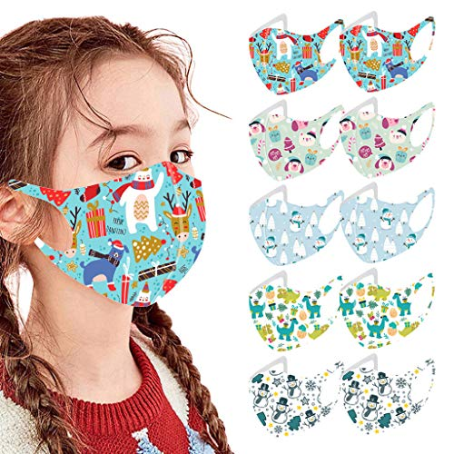 Kids Face Mask,10Pcs Kids Reusable Face Bandanas Breathable Seamless Cute Print Cotton Children