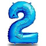 envami Luftballon Geburtstag XXL Blau - Riesen Folienballon in 40' | 101cm Geburtstagsdeko | Ballon Zahl Deko zum Geburtstag | fliegt mit Helium (Zahl 2)