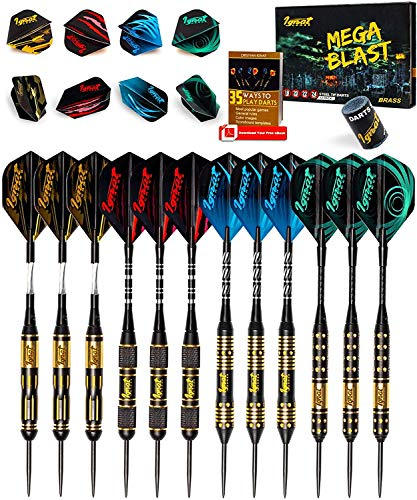 IgnatGames Steel Tip Darts Set - Professional Darts with Aluminum Shafts, Rubber O'Rings, and Extra...