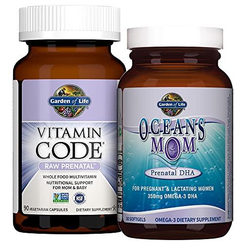 Garden of Life Prenatal Multi + DHA Bundle: Vitamin Code Raw Prenatal Multivitamin with Folate, 90 Vegetarian Capsules Plus Oceans Mom DHA Once Daily, 350mg DHA Fish Oil, 30 Strawberry Softgels