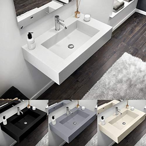 Lavabo de resina y gelcoat lavabo 80 cm blanco beige gris claro antracita moderno suspendido efecto piedra