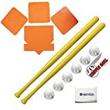 WIFFLE Ball 6 Baseballs Official Size - 6 Pack Ball 32' Bats 2 Pack, BSN Orange Throw Down Bases (5 Piece),...