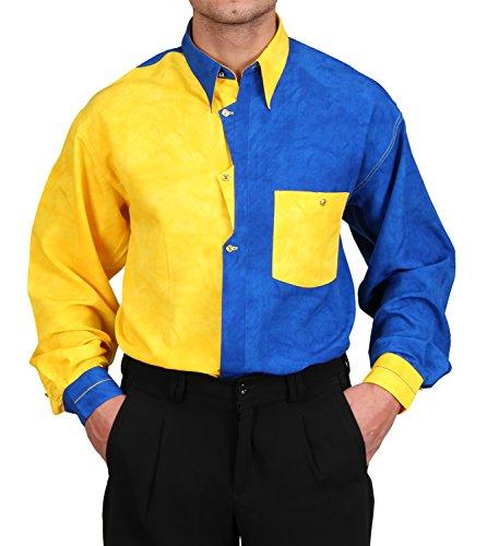 Designerhemd in Royalblau/gelb Batik, für Herren Beste QUALITÄT, HK Mandel Freizeithemd Langarm Normal Nicht Tailliert Größe XL