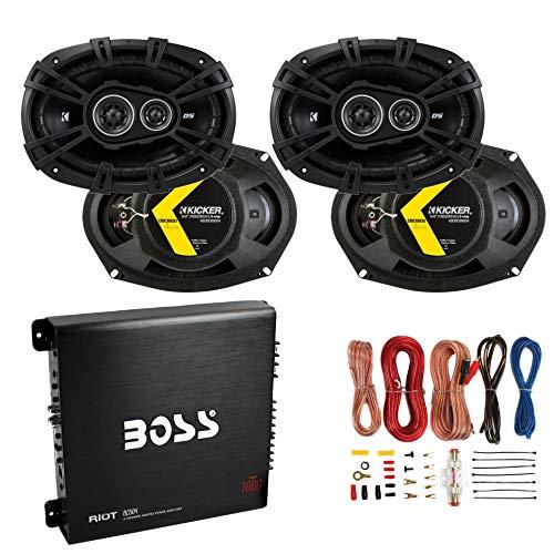 KICKER 6x9 360W Car Speakers (4 Pack) + Boss 1000W Amplifier + 8 Gauge Wiring