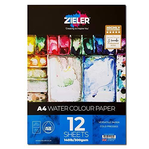 Zieler®, blocco di carta per acquerelli a grana fine, 300 g/mq, 12 fogli, ideale per ammollo e mascheramento Prodotto nel Regno Unito. A4 Bianco sporco