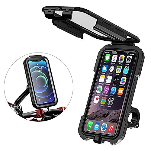 Soporte Movil Bicicleta, Soporte Movil Moto, Impermeable Universal Pantalla Táctil Sensible 360°Rotación Anti Vibración Bicicleta Soportes para 4.5-6.1' Smartphones