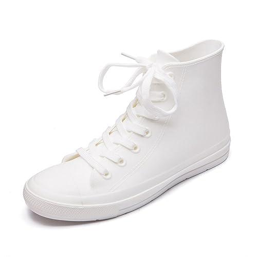 04866d26006b5 DKSUKO Women s Rain Boots Waterproof High Top Rain Shoes with Lace Up  Anti-Slip Yellow