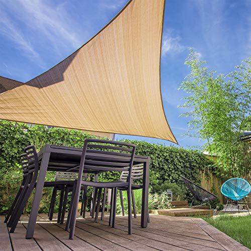 Patio Shack Toldo Vela de Sombra Triangular 4x4x4 m, HDPE Transpirable y Protección Rayos UV para Exterior, Jardín, Terrazas Arena