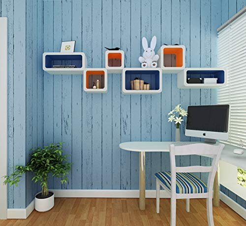 Eurotex Wood Peel and Stick Wallpaper- Self Adhesive- Removable Shiplap Wallcovering- Use as Wall Paper, Contact or Shelf Paper(PVC, Size 1.48ft x 32.8ft, 48 sqft Roll, Light Blue Wood Color)