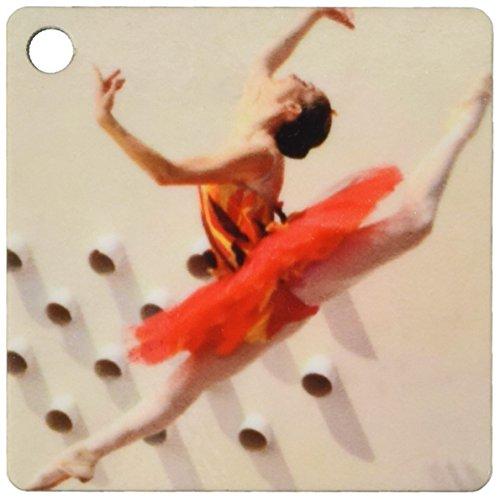 3dRose Ballerina dansen en springen met een rode jurk - sleutelhangers, 2,25-inch, set van 2 sleutelhangers, 6 cm, varianten