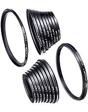 K&F Concept 18 Piezas Filtro Anillos Set Adaptador de Lentes Metal incluye 9pcs Step Up Ring y 9pcs Step Down Ring