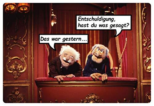 Blechschild 20x30cm gewölbt Waldorf Statler Muppet Show Hast Du was Deko Geschenk Schild