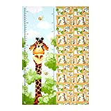 Hamil Textiles 0490325 Susybee Zoe the Giraffe Growth Chart 29in Panel Quilt Fabric, Brown