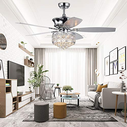 Crystal Ceiling Fan Chandelier With Light and Remote Control Chromn 52 Inch 5 Reversible Blades For Home Decoration Living Room Bedroom,Tropicalfan