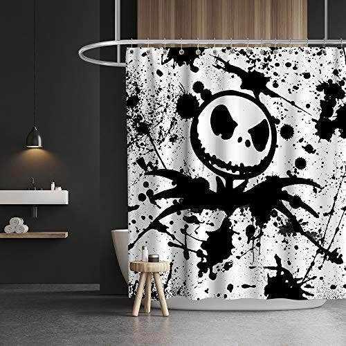 Lifeasy Jack Nightmare Before Christmas Shower Curtain Halloween Fabric Skull Bathroom Decor Set with Hooks Waterproof Washable 72 x 72 inches Black and White