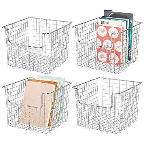 mDesign Juego de 4 cestas de almacenaje de alambre para el armario o el estante – Práctica caja de almacenamiento para cocina, baño u oficina – Cesta metálica abierta – plateado