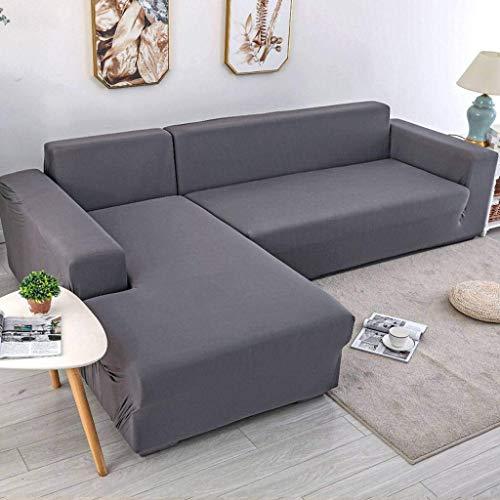 Jonist Funda de sofá Elastic Force, Escudo Universal para Muebles, Color sólido, Todo Incluido para sofá Cama al Aire Libre, Gris, Tres Personas, 190~230cm
