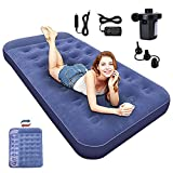SAYGOGO Camping Air Mattress Travel Bed Sleeping Pad - Leak Proof Inflatable Mattress with Thickened Flocking Surface Built-in Pillow Air Bed for Home Camping SUV Truck RV Tent
